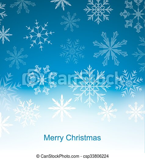 New Year Blue Background with Snowflakes - csp33806224
