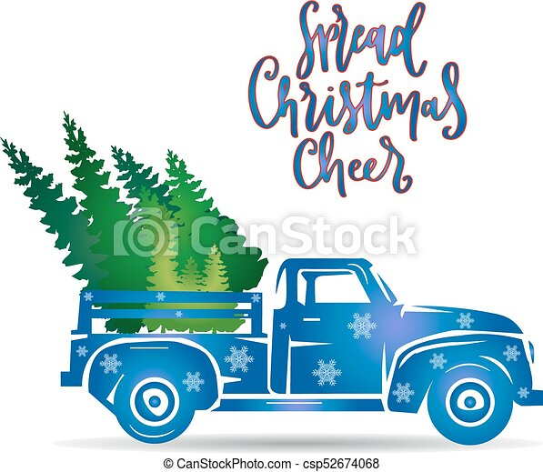 New year blue truck, (decorated with snowflakes), bear Christmas tree, cartoon on white background, - csp52674068