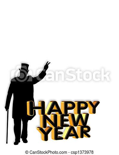 new year card invitation graphic csp1373978