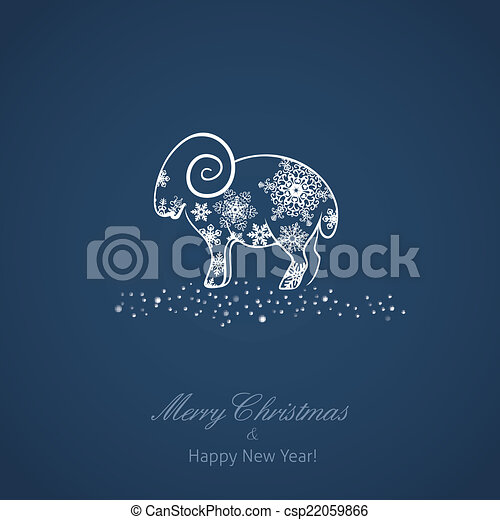 new year card with a sheep csp22059866