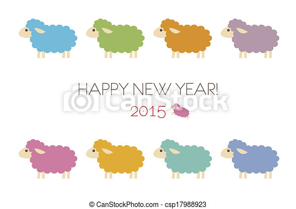 new year card with sheep csp17988923
