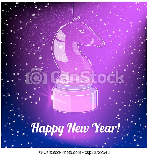 new year card year with glass horse on purple back csp38722543