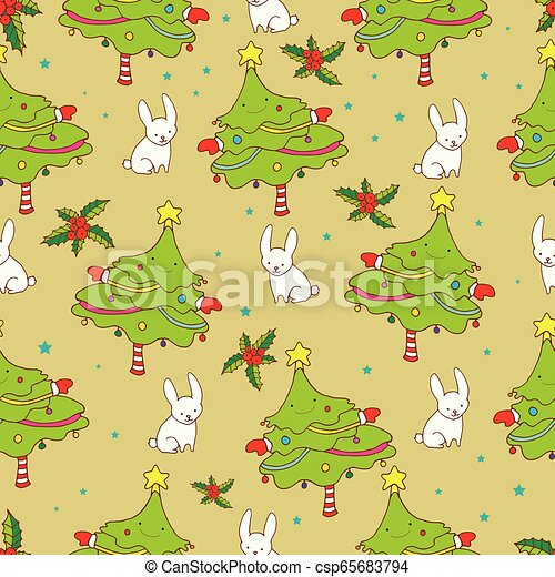New Year cartoon seamless background, elegant funny Christmas tr