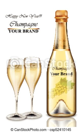 new year champagne bottle and glasses card vector realistic