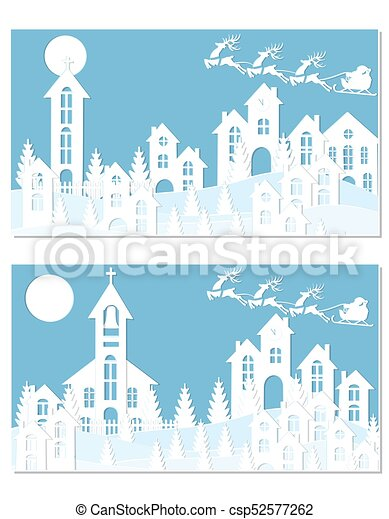 new year christmas an image of santa claus and deer snow moon trees houses church two