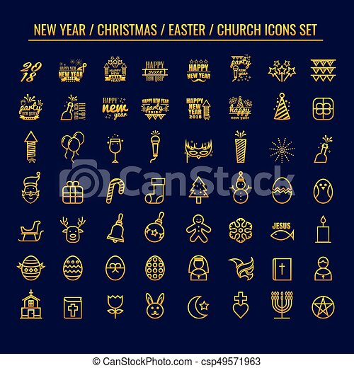 new year christmas easter church vector icon on blue background logo symbol