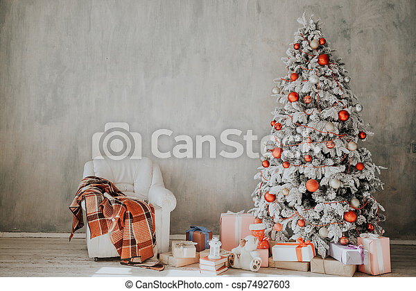 New Year Christmas Home Interior White Christmas Tree Lights Twinkle Winter Holiday Gifts New Year Christmas Tree Winter
