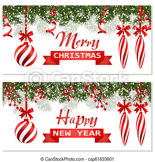 New Year Christmas. Two flyer, business cards, cards. Striped balls and candles. Green branches of fir trees in the snow. Ribbon with a congratulatory inscription. illustration - csp61633601
