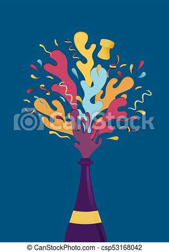 new year colorful party champagne bottle splash csp53168042