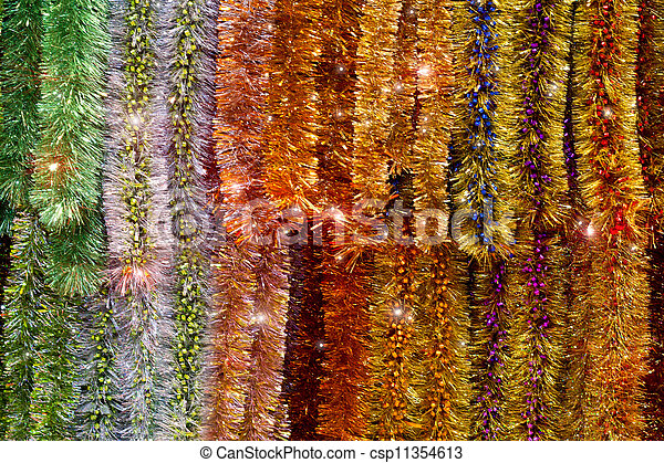 new year colorful tinsel background - csp11354613