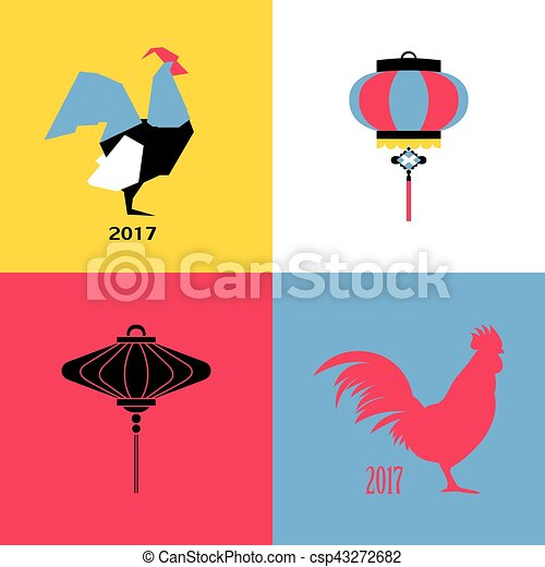 new year design with silhouette of roosters and chinese lantern new