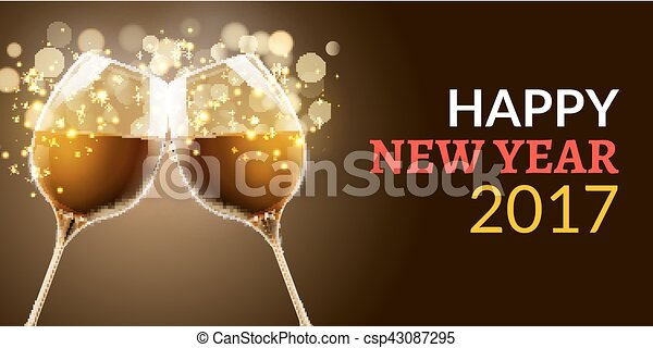 new year eve 2017 holiday illustration of two wine glasses drink luxury celebration of new year vector party alcohol decoration