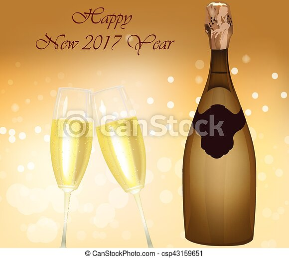 new year eve sparkling champagne bottle csp43159651