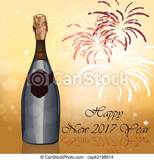 new year eve sparkling champagne bottle csp43198614