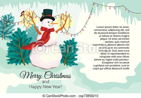 New Year fantastic card a banner with a congratulation of a Merry Christmas. The snowman holds a garland with small lamps and birdies. Around an icicle and snow - csp73859210