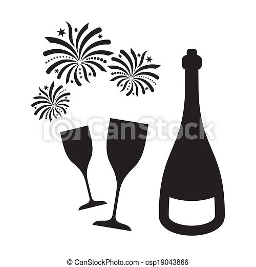 new year fireworks and champagne csp19043866
