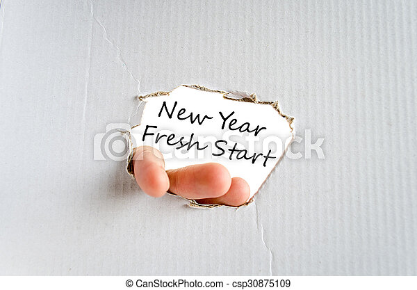 New year fresh start text concept isolated over white background.