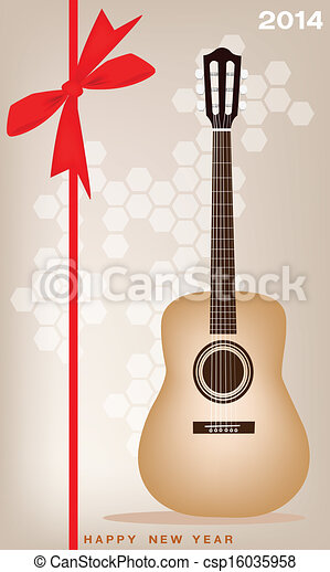 new year gift card of a classical guitar csp16035958