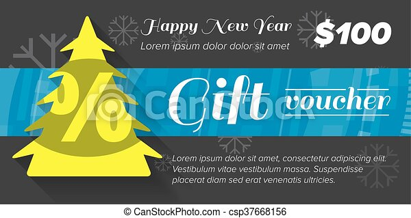 new year gift voucher with tree and blue ribbon