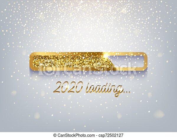 New Year Golden Loading Bar Vector Illustration