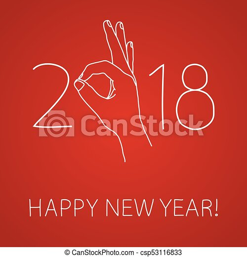 happy 2018 new year graphic design element for greeting card party invitation flyer or poster doodle hand drawn poster hand making ok sign