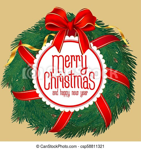 Merry Christmas New Year Greeting Card Vector Template Decorated