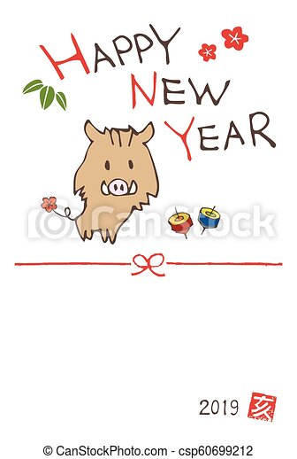 new year greeting card with a cute boar wild pig csp60699212