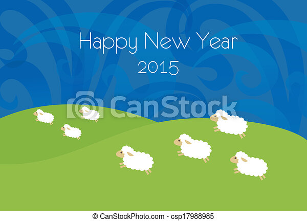 new year illustration with sheeps