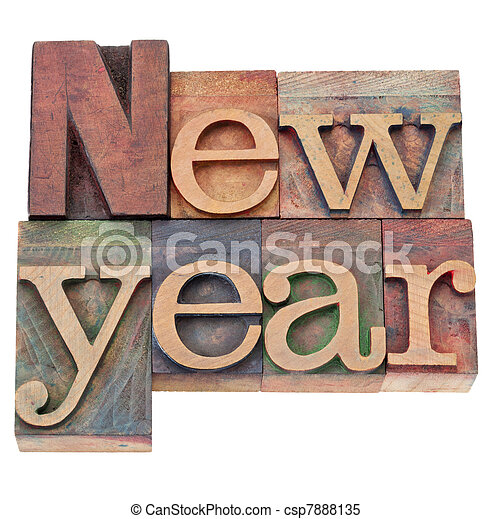 new year in letterpress type - csp7888135