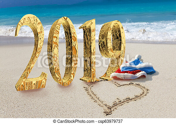 New Year inscription 2019 on the beach - csp63979737