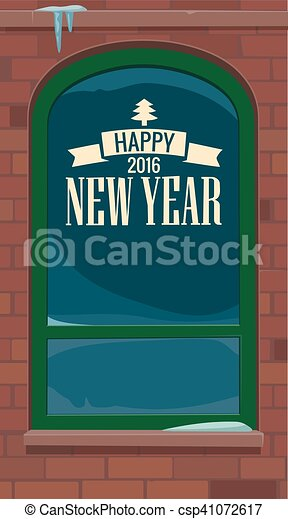 New year - inscription on the glass cafe. New York street. - csp41072617