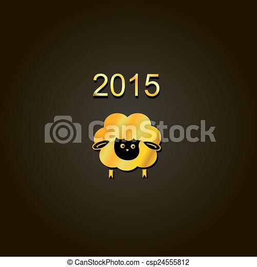 new year lamb golden design Symbol of 2015. Sheep - csp24555812