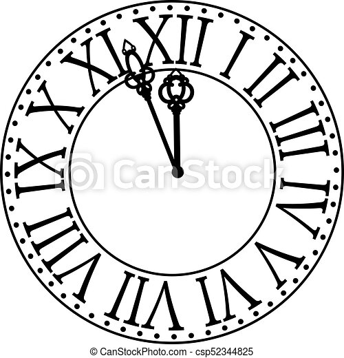 vintage clock with roman numbers new year midnight vector rh canstockphoto com 214 New Year's Clock Clip Art Noon Clock Clip Art