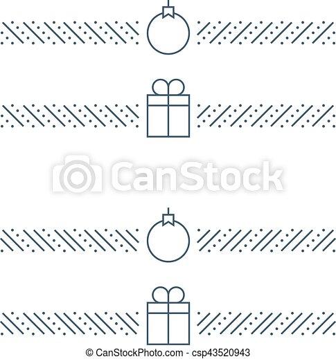 new year minimalistic text separator christmas theme linear border xmas decor csp43520943