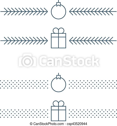 new year minimalistic text separator christmas theme linear border xmas decor csp43520944