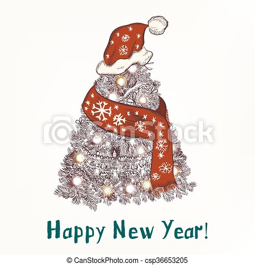New year or christmas humor background with xmas tree in red scarf ...