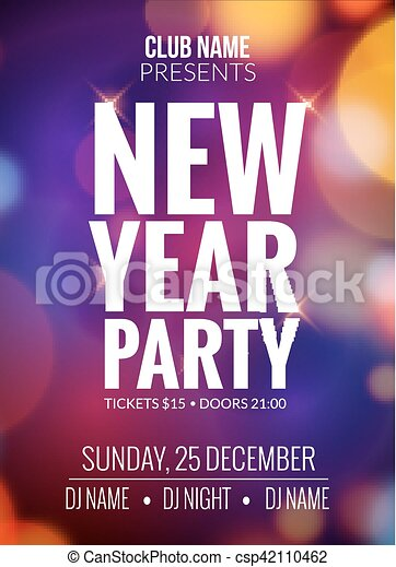 New Year Party Design Banner Event Celebration Flyer Clip Art