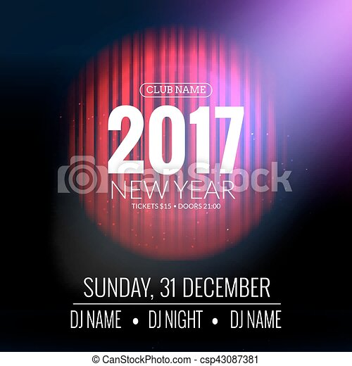 New Year Party Design Banner Event Celebration Flyer Template With
