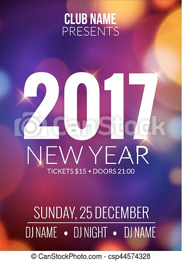 New Year Party Design Banner Event Celebration Flyer Vector