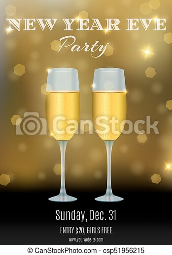 new year party flyer design with glasses of champagne and abstract bokeh background your club invitation template vector illustration