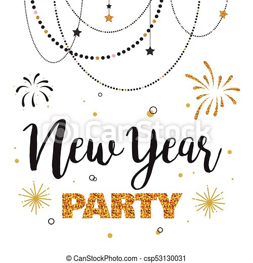 New Year Party Invitation Template Vector Illustration