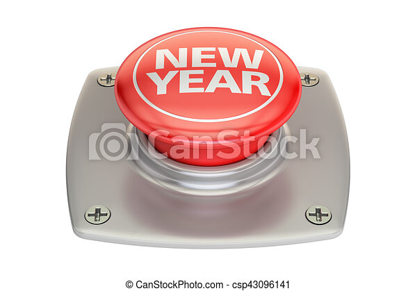 New Year Red Button, 3D rendering - csp43096141