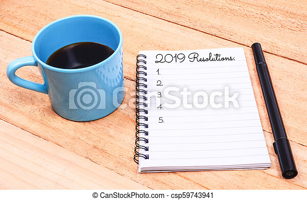 New Year Resolutions List on Notepad - csp59743941
