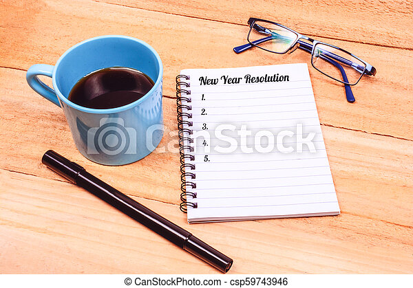New Year Resolutions List on Notepad - csp59743946