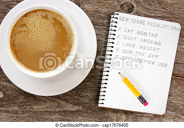 New year resolutions with coffee cup - csp17676405