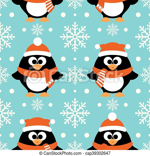 new year seamless with penguin csp39302647