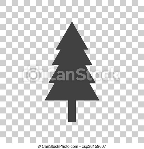 new year tree sign dark gray icon on transparent background