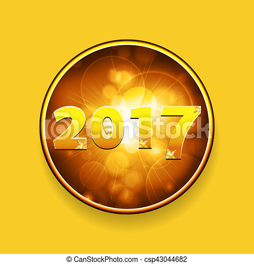 new year twenty seventeen border with stars on yellow background csp43044682