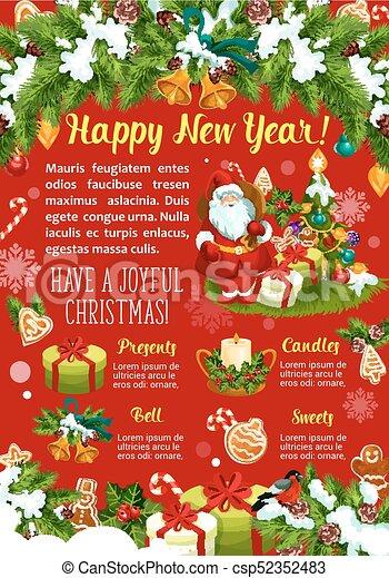 New Year winter holidays vector greeting card - csp52352483