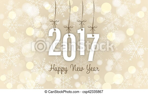 New Year wishes with blurred circles in the background. Year 2017. - csp42335867